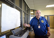 Grid Incident Manager Walter Grunder shows a map of the units during a tour through the newest prison in Pennsylvania Friday, September 01, 2017 at State Correction Institution Phoenix in Skippack, Pennsylvania. The facility is inching closer to opening, two years late, to replace Graterford Prison at a cost of $400 million. (Photo by William Thomas Cain/CAIN IMAGES)
