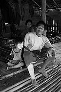 Maung Aye and his daughters in the Lep Per Her camp. <br />