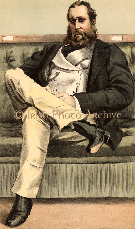 Lionel Seymour William Dawson-Damer (1832-1892), British soldier and gentleman of leisure.  Served in the Crimean (Russo-Turkish) War 1853-1856. Conservative Member of  Parliament for Portalington 1857-1865 and 1868-1880.  Cartoon  from 'Vanity Fair' (London, 18 November 1871).  Chromolithograph.