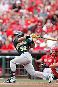 Yoenis Cespedes of the Oakland A's (Photo by Joe Robbins)