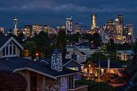 Seattle Skyline, Moody Evening