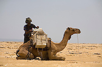A nomad form the Afar tribe in Ethiopia loads a camel with salt from the flats in Dallol