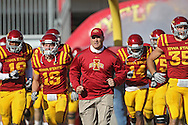 November 06 2010: Iowa State head coach Paul Rhoads leads his team onto the field before the start of the NCAA football game between the Nebraska Cornhuskers and the Iowa State Cyclones at Jack Trice Stadium in Ames, Iowa on Saturday November 6, 2010. Nebraska defeated Iowa State 31-30.