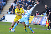Bristol Rovers defender Lee Brown (3) commits a foul on Coventry City midfielder Kyel Reid (11) 0-0 during the EFL Sky Bet League 1 match between Coventry City and Bristol Rovers at the Ricoh Arena, Coventry, England on 25 March 2017. Photo by Alan Franklin.