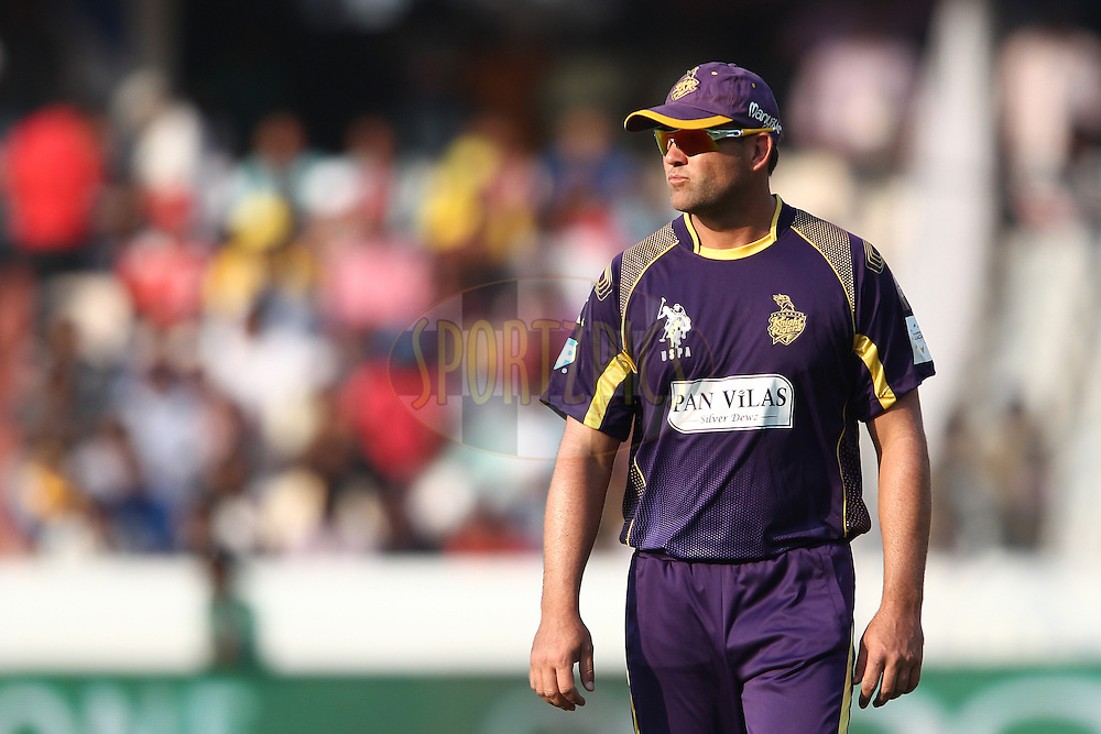 Jacques Kallis of the Kolkata Knight Riders during the first semi final match of the Oppo Champions League Twenty20 between the Kolkata Knight Riders and the Hobart Hurricanes held at the Rajiv Gandhi Cricket Stadium, Hyderabad, India on the 2nd October 2014<br /> <br /> Photo by:  Shaun Roy / Sportzpics/ CLT20<br /> <br /> <br /> Image use is subject to the terms and conditions as laid out by the BCCI/ CLT20.  The terms and conditions can be downloaded here:<br /> <br /> http://sportzpics.photoshelter.com/gallery/CLT20-Image-Terms-and-Conditions-2014/G0000IfNJn535VPU/C0000QhhKadWcjYs