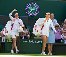 03.07.2014, All England Lawn Tennis Club, London, ENG, WTA Tour, Wimbledon, Tag 10, im Bild Lucie Safarova (CZE) and Petra Kvitova (CZE) walk onto Centre Court before the all-Czech Ladies' Singles Semi-Final match on day ten // during day 10 of the Wimbledon Championships at the All England Lawn Tennis Club in London, Great Britain on 2014/07/03. EXPA Pictures &copy; 2014, PhotoCredit: EXPA/ Propagandaphoto/ David Rawcliffe<br /> <br /> *****ATTENTION - OUT of ENG, GBR*****