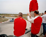 Members of the Red Arrows, Britain's RAF aerobatic team enjoy go-karting on MoD land at RAF Akrotiri.
