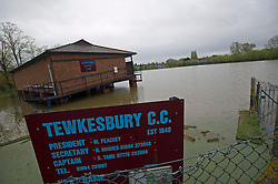 © London News Pictures. 01/05/2012. Tewkesbury, UK. Tewkesbury Cricket Club in Tewkesbury, Gloucestershire, covered in flood water on May 1, 2012. The UK has had its wettest April in over a century, with some areas seeing three times their usual average rainfall, according to figures from the Met Office. Photo credit : Ben Cawthra /LNP