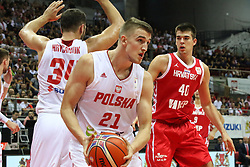 September 17, 2018 - Gdansk, Poland - Tomasz Gielo (21) of Poland in action is seen in Gdansk, Poland on 17 September 2018  Poland faces Croatia during the Basketball World Cup China 2019 Qualifiers game in the ERGO Arena sports hall in Gdansk  (Credit Image: © Michal Fludra/NurPhoto/ZUMA Press)