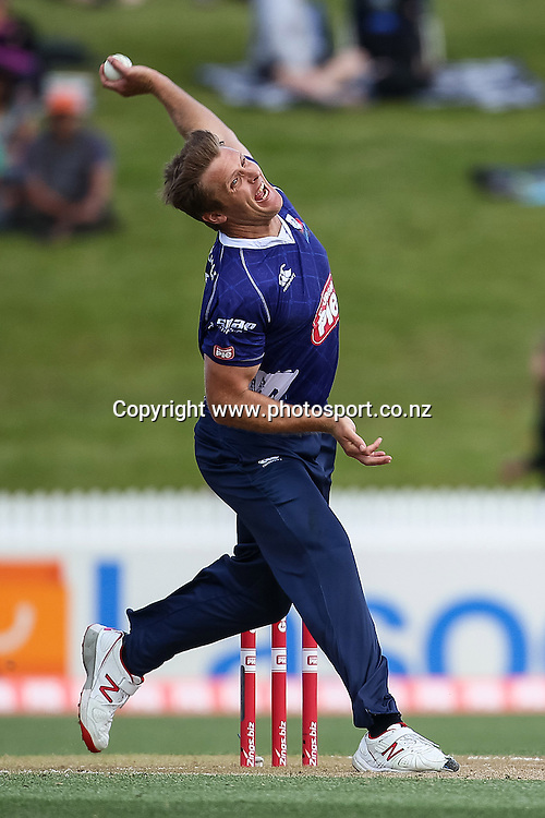 Auckland Ace's Michael Bates bowling during the Georgie Pie Super Smash T20 cricket Final - Firebirds v Aces at Seddon Park, Hamilton, New Zealand on Sunday 7 December 2014.  Photo: Bruce Lim / www.photosport.co.nz