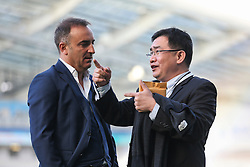 Sheffield Wednesday Manager Carlos Carvalhal talks with  Sheffield Wednesday owner Dejphon Chansiri - Mandatory by-line: Jason Brown/JMP - 16/05/2016 - FOOTBALL - Amex Stadium - Brighton, England - Brighton and Hove Albion v Sheffield Wednesday - Sky Bet Championship Play-off Semi-final second leg
