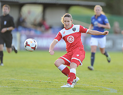 Bristol Academy's Corinne Yorston scores from just outside the box. - Photo mandatory by-line: Alex James/JMP - Mobile: 07966 386802 23/08/2014 - SPORT - FOOTBALL - Bristol  - Bristol Academy v Everton Ladies - FA Women's Super league