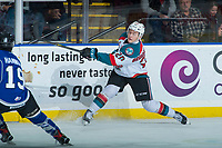 KELOWNA, CANADA - FEBRUARY 12:  Conner Bruggen-Cate #20 of the Kelowna Rockets takes a shot against the Victoria Royals on February 12, 2018 at Prospera Place in Kelowna, British Columbia, Canada.  (Photo by Marissa Baecker/Shoot the Breeze)  *** Local Caption ***