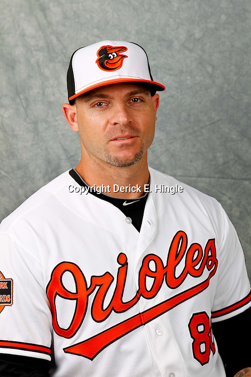 March 1, 2012; Sarasota, FL, USA; Baltimore Orioles left fielder Scott Beerer (80) poses for a portrait during photo day at the spring training headquarters.  Mandatory Credit: Derick E. Hingle-US PRESSWIRE