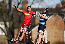 Marco Mama No 8 for Bristol Rugby tries to grab the ball from the line out - Mandatory by-line: Robbie Stephenson/JMP - 23/04/2016 - RUGBY - Goldrington Road - Bedford, England - Bedford Blues v Bristol Rugby - Greene King IPA Championship
