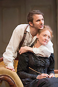 24/09/2013. The Rose Theatre Kingston and English Touring Theatre present Ghosts by Henrik Ibsen. Directed by Stephen Unwin. Featuring Pip Donaghy, Patrick Drury, Florence Hall, Kelly Hunter & Mark Quartley. Picture: Mark Quartley (Osvald Alving) & Kelly Hunter (Mrs Alving).