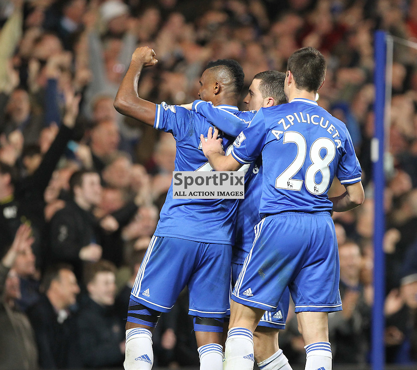 Chelsea's Samuel Eto'o celebrates his goal during the English Barclays Premiership match between Chelsea FC and Tottenham Hotspur FC at Stamford Bridge, London, 8th March 2014 © Phil Duncan | SportPix.org.uk