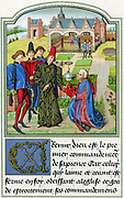 Charles The Bold (1433-77) Duke of Burgundy from 1467 accepting book from Georges Chastellain (c1405 or c1415-1475) Burgundian chronicler and poet. Chromolithograph after miniature from Chastellain 'L' Instruction d'un jeune Prince' 15th century.