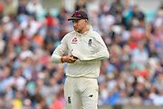 Joe Root of England shines the ball during day 3 of the 5th test match of the International Test Match 2018 match between England and India at the Oval, London, United Kingdom on 9 September 2018.