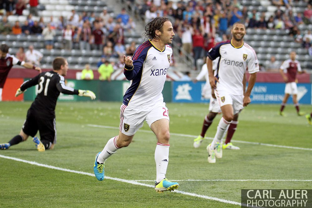 August 3rd, 2013 - Real Salt Lake midfielder Ned Grabavoy (20) celebrates scoring the first goal in the first half of action in the Major League Soccer match between Real Salt Lake and the Colorado Rapids at Dick's Sporting Goods Park in Commerce City, CO
