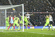 Derby County's Bradley Johnson head home the equaliser, 1-1 during the Sky Bet Championship match between Derby County and Brighton and Hove Albion at the iPro Stadium, Derby, England on 12 December 2015. Photo by Shane Healey.