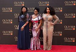 Moya Angela, Karen Mav and Marisha Walla arriving for The Olivier Awards at the Royal Albert Hall in London.