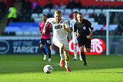 Oli McBurnie (9) of Swansea City on the attack during the EFL Sky Bet Championship match between Swansea City and Queens Park Rangers at the Liberty Stadium, Swansea, Wales on 29 September 2018.