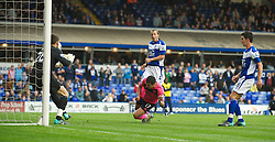 BIRMINGHAM, ENGLAND - Saturday, October 2, 2010: Everton's Tim Cahill scores the second goal against Birmingham City with a diving header in the last minute of injury time during the Premiership match at St Andrews. (Photo by David Rawcliffe/Propaganda)