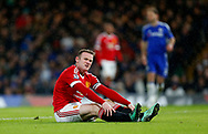 Manchester United captain Wayne Rooney could be missing for up to two months with a knee ligament injury in another massive blow to manager Louis van Gaal. <br /> James Boardman / Telephoto Images<br /> +44 7967 642437