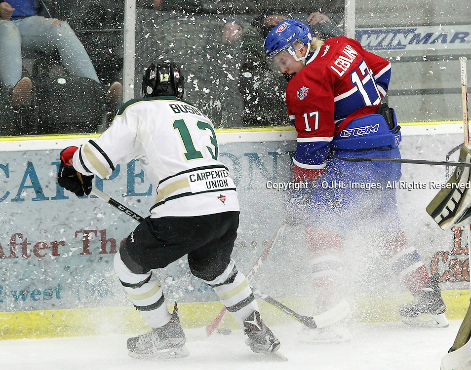 COBOURG, ON  - MAR 4,  2017: Ontario Junior Hockey League, playoff game between the Cobourg Cougars and the Kingston Voyageurs. Mathew Busby #13 of the Cobourg Cougars and Josh Leblanc #17 of the Kingston Voyageurs skate after the puck during the first period.<br /> (Photo by Tim Bates / OJHL Images)