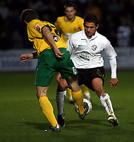 Photo: Mark Stephenson/Sportsbeat Images.<br /> Hereford United v Hartlepool United. The FA Cup. 01/12/2007.Hartlepool's Ian Moore passes the ball through Kris Taylers legs