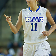 01/11/12 Newark DE: Delaware Junior Forward #11 Elena Delle Donne and the U.S. Basketball Writers Association Women's National Player of the Week gesture towards her teammate during a Colonial Athletic Association Conference Basketball Game against The University of North Carolina Wilmington Seahawks Thursday, Jan. 12, 2012 at the Bob Carpenter Center in Newark Delaware.<br /> <br /> No. 18 Delaware (13-1, 4-0) defeated University of North Carolina Wilmington (8-7, 1-3) 69-37 continuing their best start in school history behind Elena Delle Donne 23 point scoring point effort.