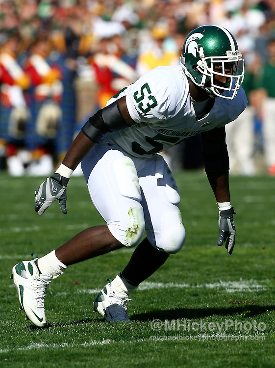 Michigan State's Greg Jones seen during action against Notre Dame on September 22, 2007 in South Bend, Indiana.