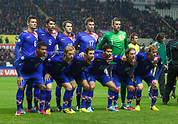 SWANSEA, WALES - Tuesday, March 26, 2013: The Croatia team line up for a team group photo before the 2014 FIFA World Cup Brazil Qualifying Group A match against Wales at the Liberty Stadium. (Pic by Kieran McManus/Propaganda)