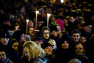 16.02.2015. Copenhagen, Denmark.<br /> Forty thousands of Danes have attended a memorial rally in Copenhagen for the two victims killed in twin shootings on the weekend. The gathering took place near the scene of the first attack.<br /> Photo: &copy; Ricardo Ramirez