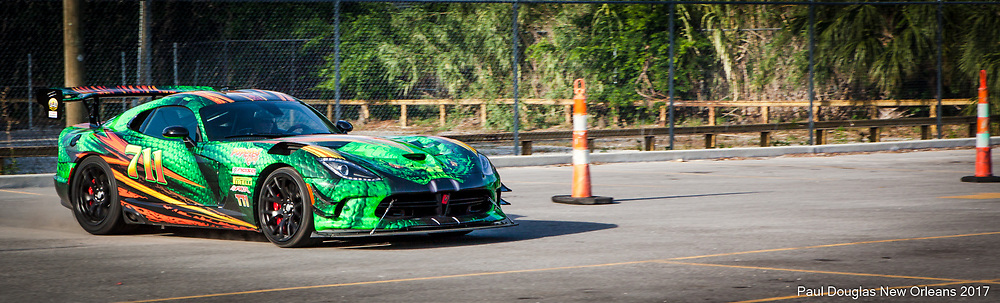 Al Copland Jr. and David Bruchis with their Dodge Vipers running through cones.