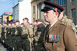 Troops parade outside Barnsley Town Hall on Remembrance Sunday Barnsley Marks the Centenary of the out break of World War I<br /> <br /> 09 November 2014<br /> <br /> Image © Paul David Drabble <br /> <br /> www.pauldaviddrabble.co.uk