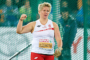 Anita Wlodarczyk from Poland celebrates her gold medal in women's hammer throw final during the Fourth Day of the European Athletics Championships Zurich 2014 at Letzigrund Stadium in Zurich, Switzerland.<br /> <br /> Switzerland, Zurich, August 15, 2014<br /> <br /> Picture also available in RAW (NEF) or TIFF format on special request.<br /> <br /> For editorial use only. Any commercial or promotional use requires permission.<br /> <br /> Photo by &copy; Adam Nurkiewicz / Mediasport