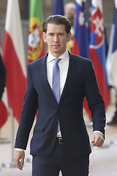 March 22, 2019 - Brussels, Belgium - Sebastian Kurz the Chancellor of Austria arriving at the European Council, a day after the long Brexit talks that was held the previous night with Theresa May. Brussels March 22, 2019  (Credit Image: © Nicolas Economou/NurPhoto via ZUMA Press)