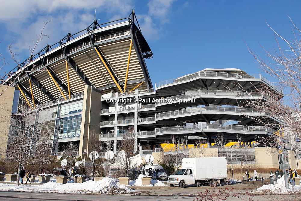 General view of the exterior of Heinz Field prior to the Pittsburgh Steelers NFL 2011 AFC Championship playoff football game against the New York Jets on Sunday, January 23, 2011 in Pittsburgh, Pennsylvania. The Steelers won the game 24-19. (©Paul Anthony Spinelli)