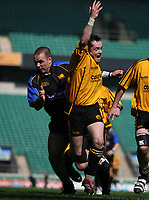 Photo: Jonathan Butler.<br /> <br /> Northwich v Bradford Salem. EDF Energy Senior Vase Final. 15/04/2007. Northwich scrumhalf Gareth Davies centre is held back bt Sean Thomas left and a penalty try is awarded to Northwich