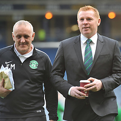 kit man Tam McCourt with Neil Lennon ahead of the match between Hibs v Aberdeen, William Hill Scottish Semi Final, Hampden, Saturday 22 April 2017  (c) Angie Isac | SportPix.org.uk
