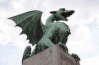 Low angle view of dragon bridge against sky; Slovenia; Ljubljana