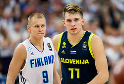 Sasu Salin of Finland and Luka Doncic of Slovenia during basketball match between National Teams of Finland and Slovenia at Day 3 of the FIBA EuroBasket 2017 at Hartwall Arena in Helsinki, Finland on September 2, 2017. Photo by Vid Ponikvar / Sportida