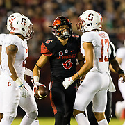16September 2017: San Diego State Aztecs wide receiver Mikah Holder (6) gets in the face of his brother Stanford Cardinal cornerback Alijah Holder (13) after catching a pass for a first down in the second quarter. The Aztecs lead Stanford 10-7 at half time at San Diego Stadium. <br /> www.sdsuaztecphotos.com