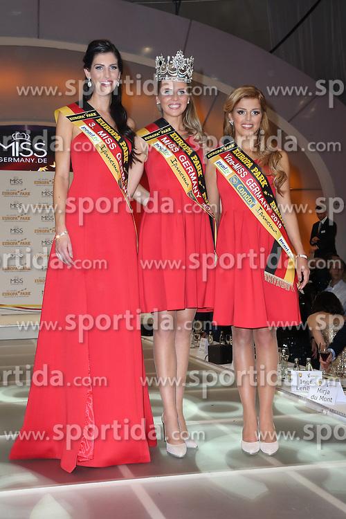 28.02.2015, Europapark Dom, Rust, GER, Miss Germany Wahl 2015, im Bild 3. Lisa Wargulski (Miss Brandenburg 2015), Miss Germany 2015 Olga Hofmann (Miss Pearl.tv 2015), 2. Julia Kraml (Miss Bayern 2015) // during the election to Miss Germany 2015 at the Europapark Dom in Rust, Germany on 2015/02/28. EXPA Pictures &copy; 2015, PhotoCredit: EXPA/ Eibner-Pressefoto/ BW-Foto<br /> <br /> *****ATTENTION - OUT of GER*****