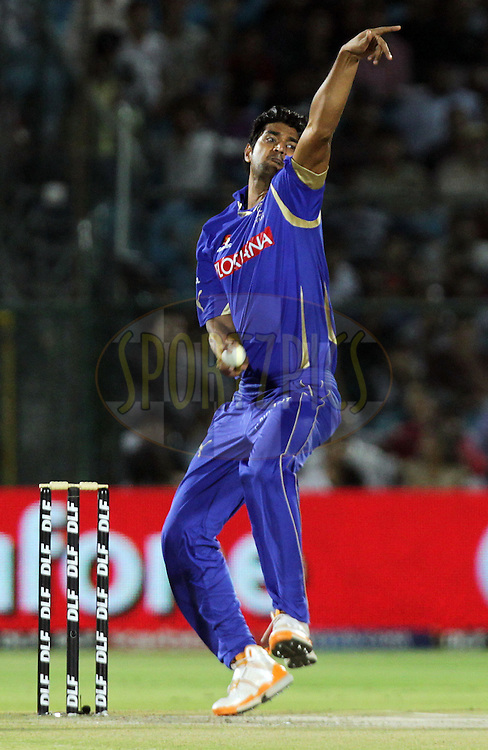 Rajasthan Royals player Pankaj Singh bowls during match 55 of the Indian Premier League ( IPL ) Season 4 between the Rajasthan Royals and the Royal Challengers Bangalore held at the Sawai Mansingh Stadium, Jaipur, Rajasthan, India on the 11th May 2011..Photo by BCCI/SPORTZPICS.