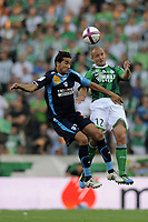 FOOTBALL - FRENCH CHAMPIONSHIP 2011/2012 - L1 - AS SAINT ETIENNE v AS NANCY LORRAINE - 13/08/2011 - PHOTO JEAN MARIE HERVIO / DPPI - JEAN PASCAL MIGNOT (ASSE) / YOUSSOUF HADJI (ASNL)