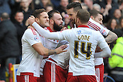 Sheffield United forward Billy Sharp Celebrates scoring goal for Sheffield United to go 1-0 up during the Sky Bet League 1 match between Sheffield Utd and Bradford City at Bramall Lane, Sheffield, England on 28 December 2015. Photo by Ian Lyall.