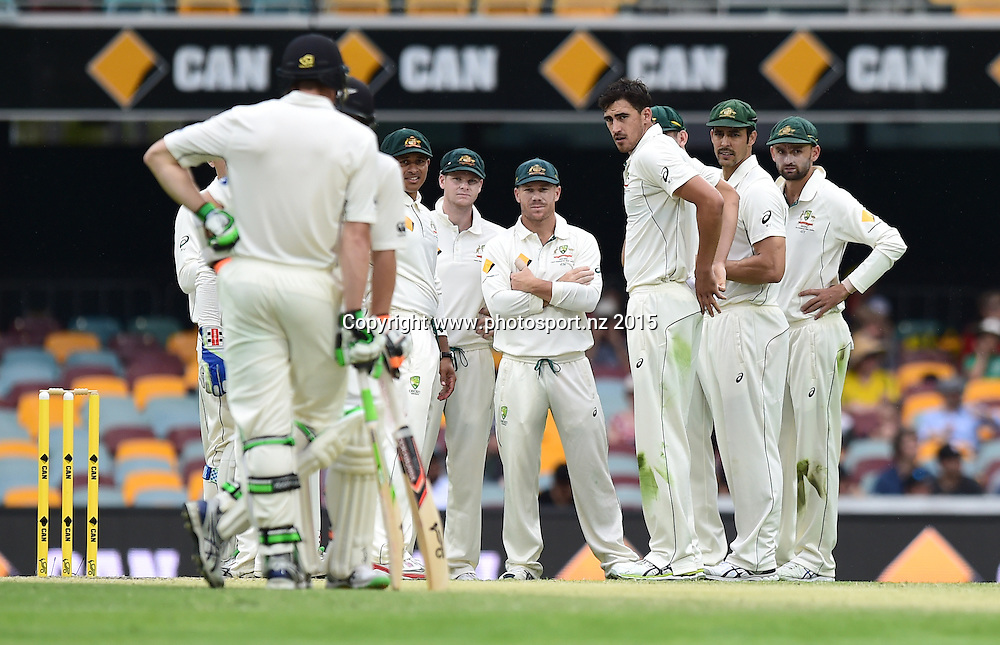 Mitchell Starc and the Australian cricket team await the decision on Day Four, 8 November 2015. New Zealand Black Caps tour of Australia, 1st test at Brisbane 5-9 November 2015. Copyright photo: www.photosport.nz